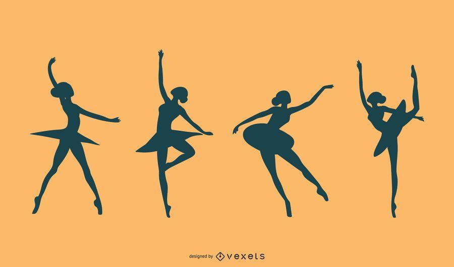 Vetor de silhueta de dançarina de balé