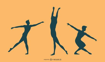 Conjunto de silhueta de dançarina de balé masculino