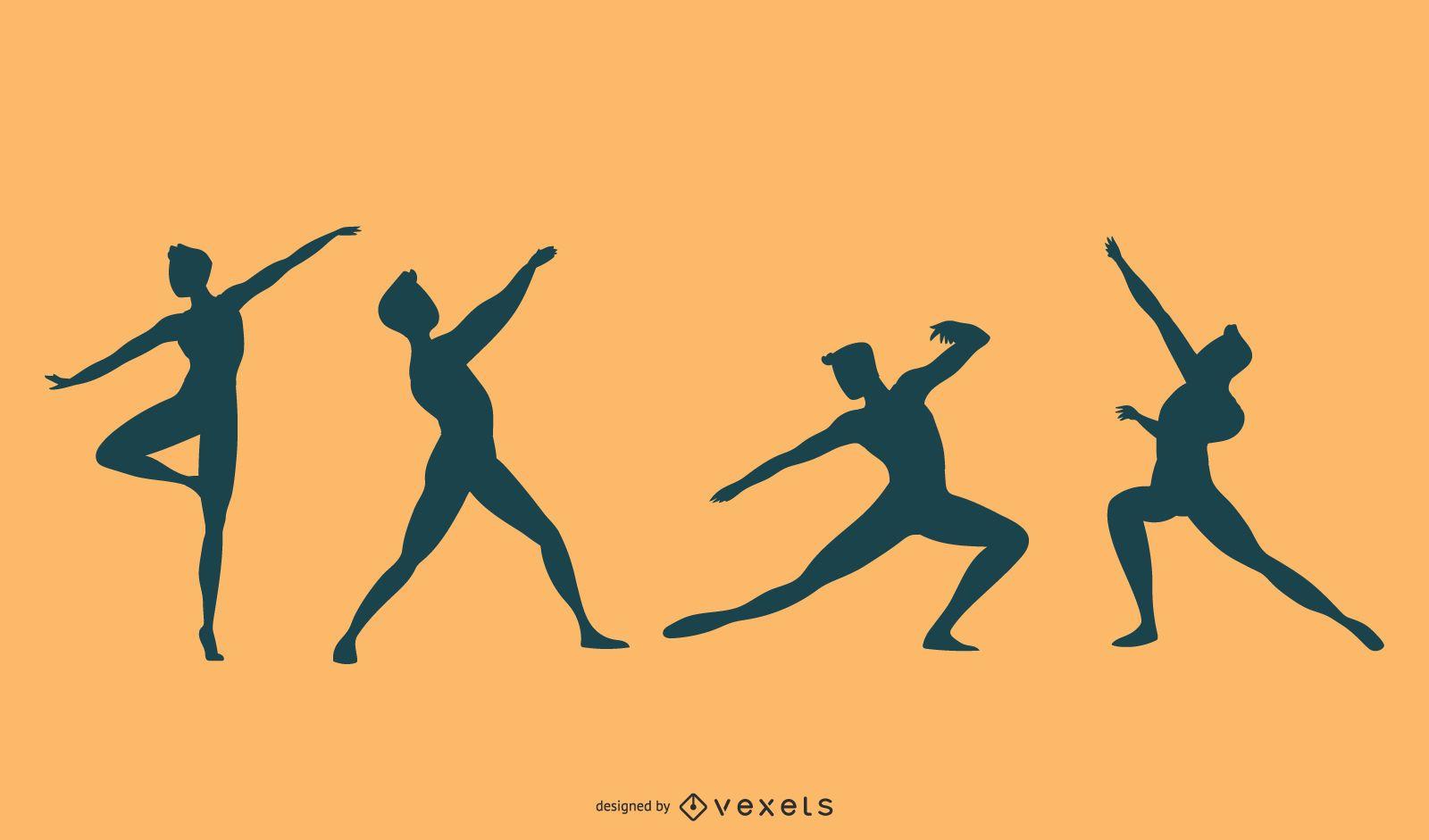 Conjunto de vectores de silueta de bailarina de ballet masculino