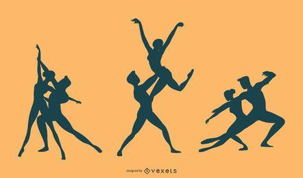 Vetor de silhueta de dança de balé