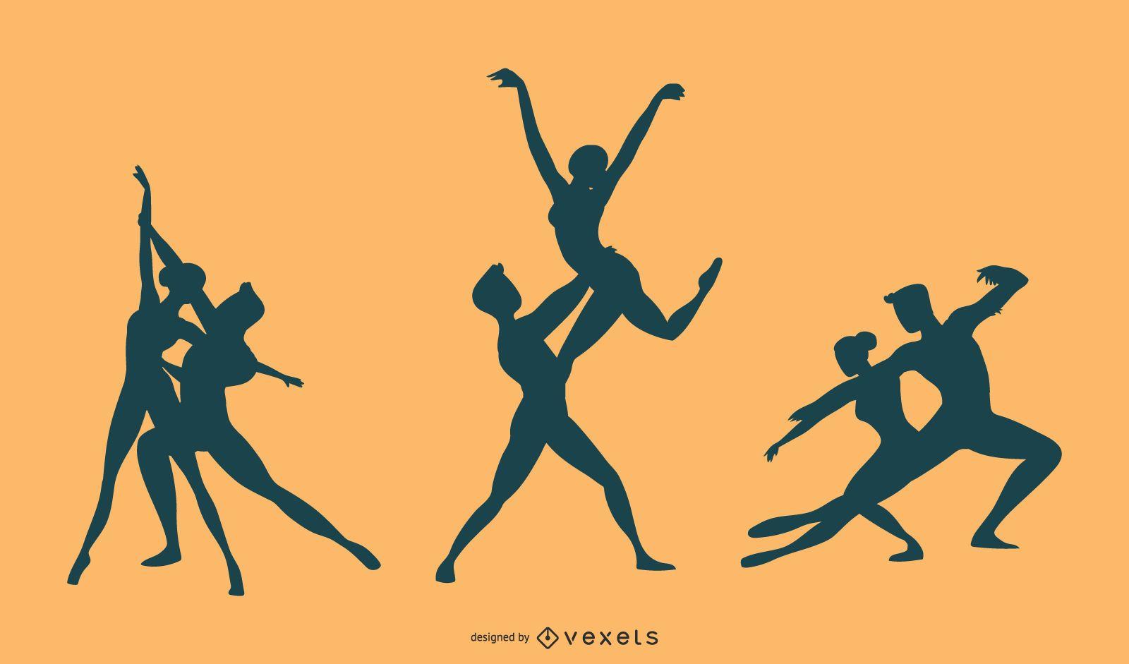 Vector de silueta de danza de ballet