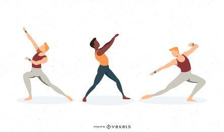 Conjunto de vectores de bailarina de ballet masculino