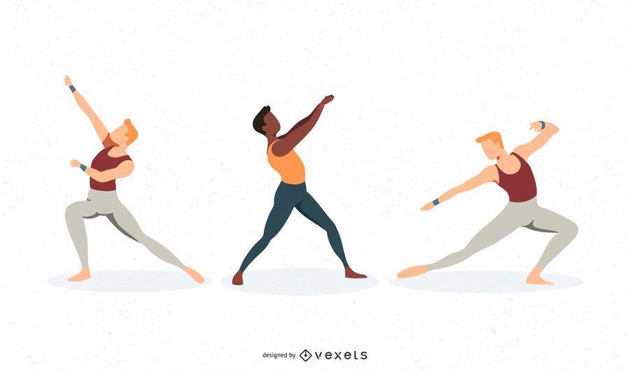Conjunto de vetores de dançarina de balé masculino