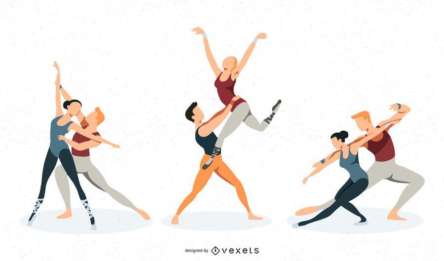 Conjunto de vectores de danza ballet