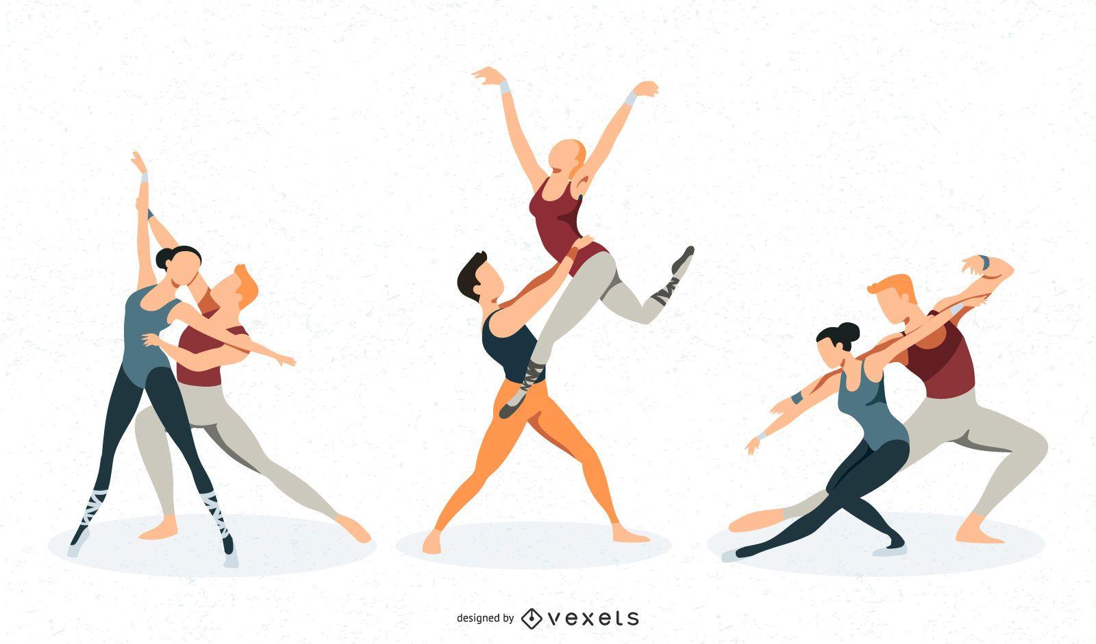 Conjunto de vectores de danza de ballet