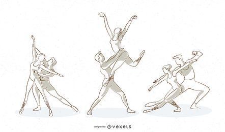 Ballet Line Vector Set