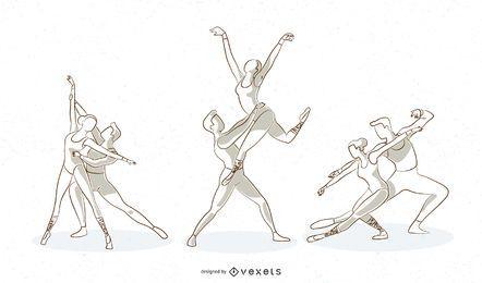 Conjunto de vectores de línea de ballet