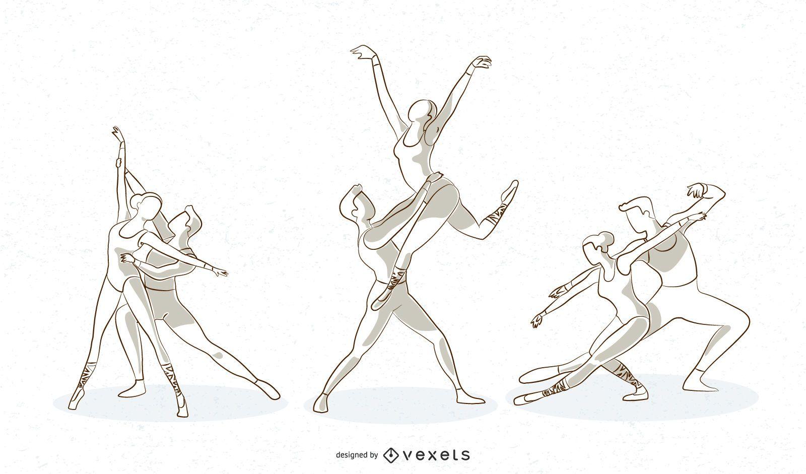 Ballet Line Vector Set