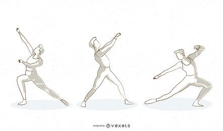 Línea de ballet bailarina masculina diseño vectorial