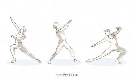 Projeto de vetor de linha de dançarina de balé masculino