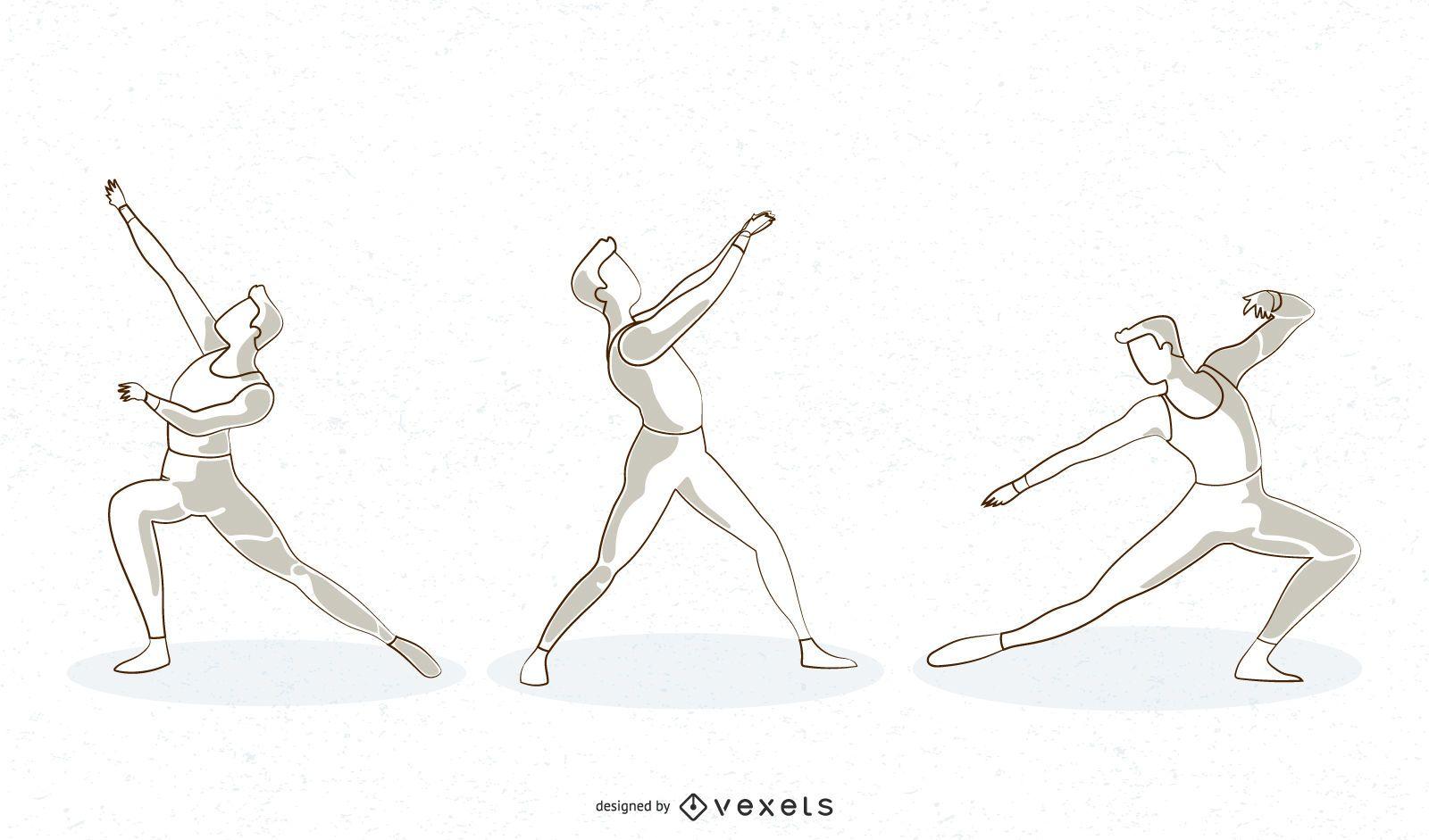 Diseño de vector de línea de bailarina de ballet masculino