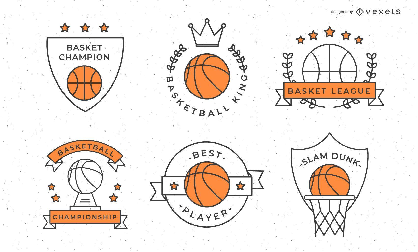 Coleção de emblemas de basquete