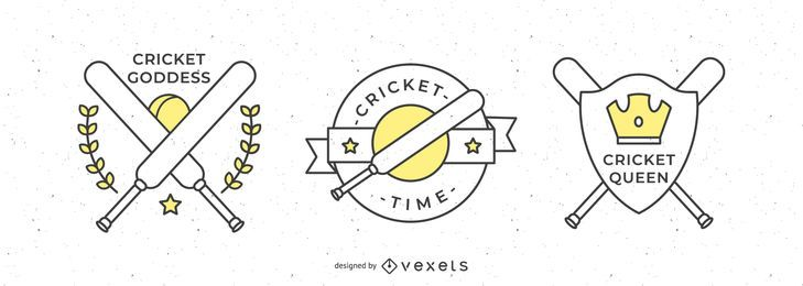 Cricket Sport Badges Design