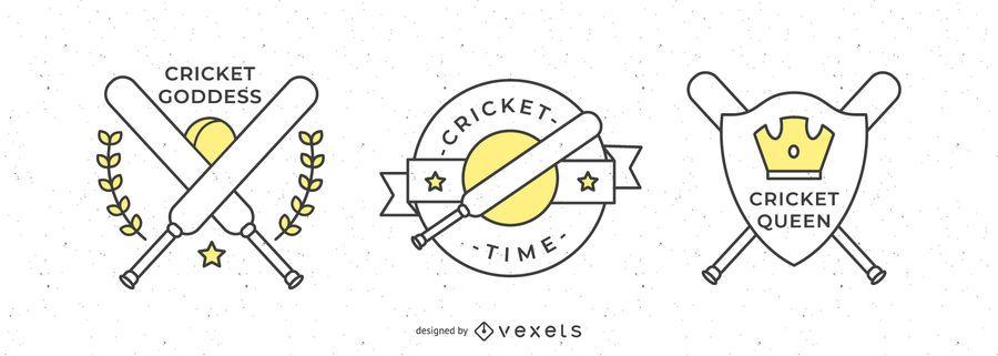 Cricket Sport Badges Design