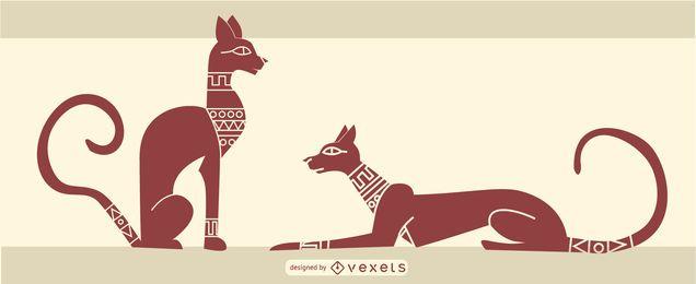 stilvoller ägyptischer Katzenentwurf