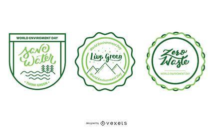 Designs de distintivos ecológicos