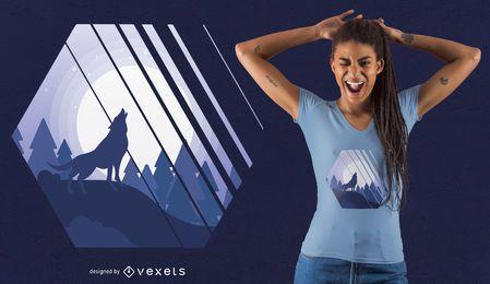 Projeto do t-shirt do lobo do urro