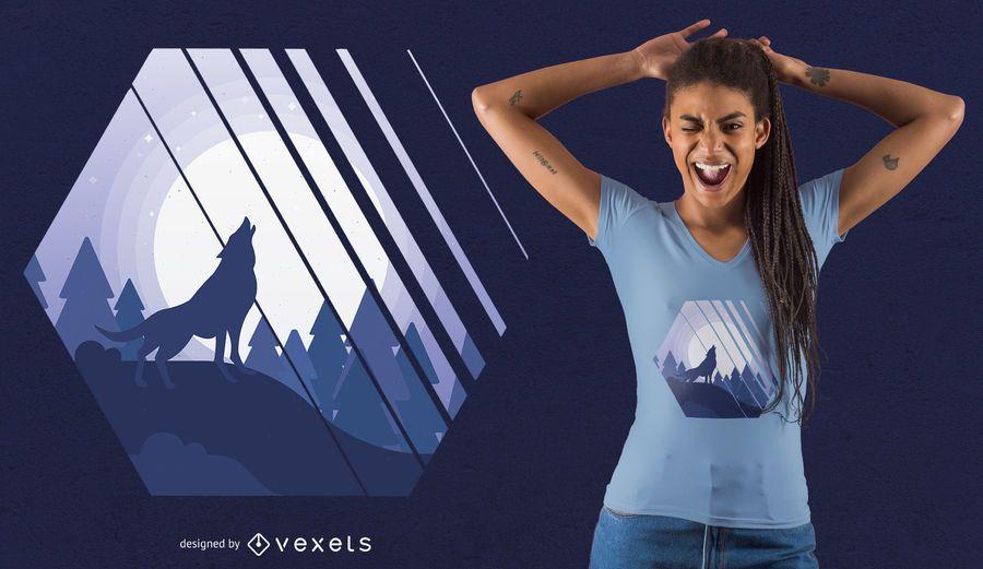 Heulender Wolf-T-Shirt Entwurf