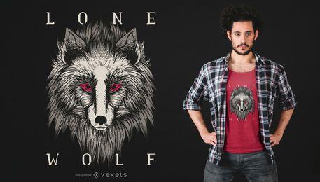 Projeto do t-shirt do lobo solitário
