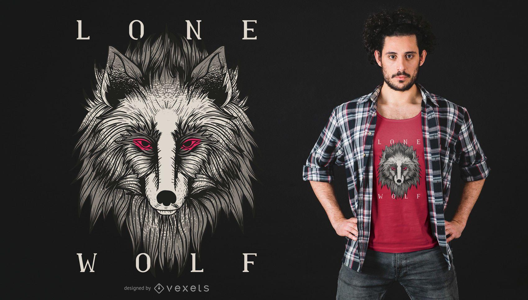 Diseño de camiseta de lobo solitario