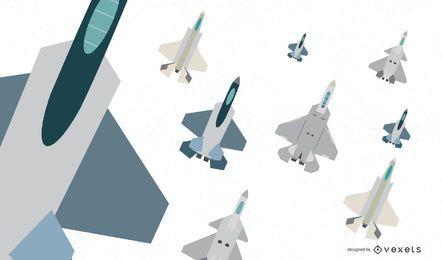 Coleção de vetores plana de aeronaves de caça