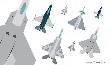 Flacher Kampfflugzeug-Vektor-Satz