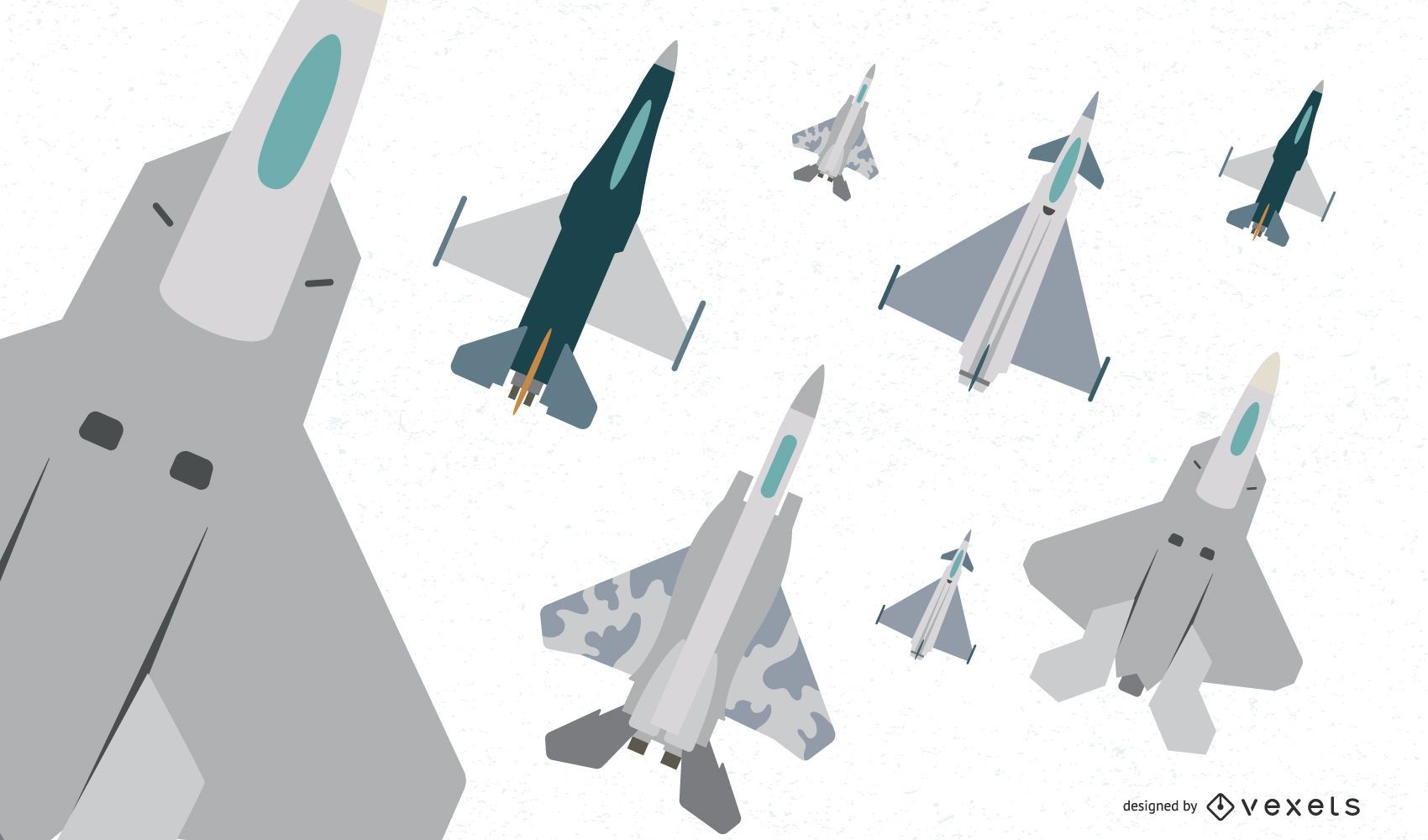 Flat Fighter Aircraft Vector Pack