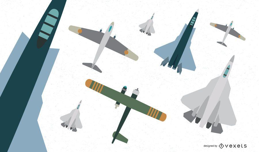 Colección de vectores de aviones de combate planos
