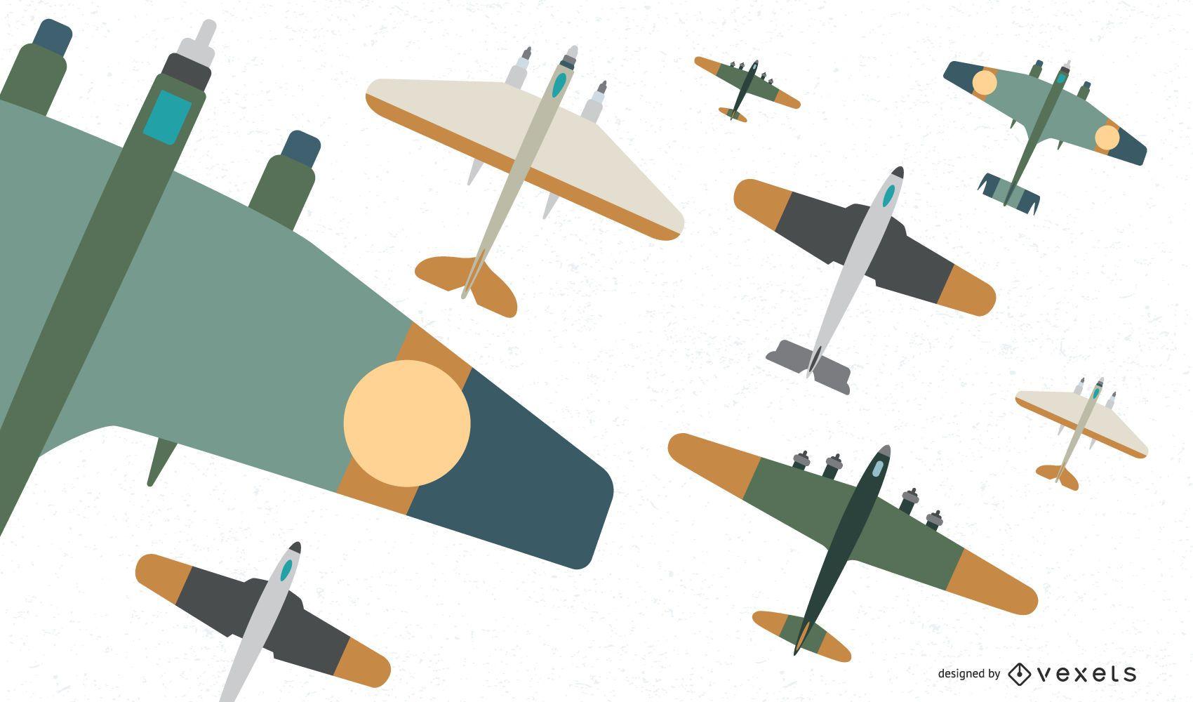 Flat Classic Fighter Aircraft Vector Set