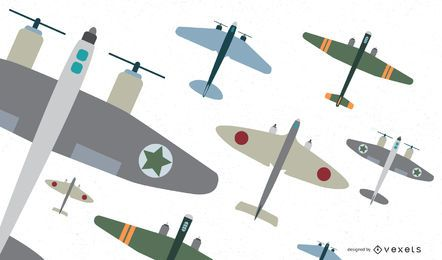 Classic Aircraft Fighters Flat Vector Set