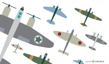 Klassischer Flugzeug-Kämpfer-flacher Vektor-Satz