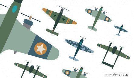 Coleção de vetores plana de caça de aeronaves clássicas