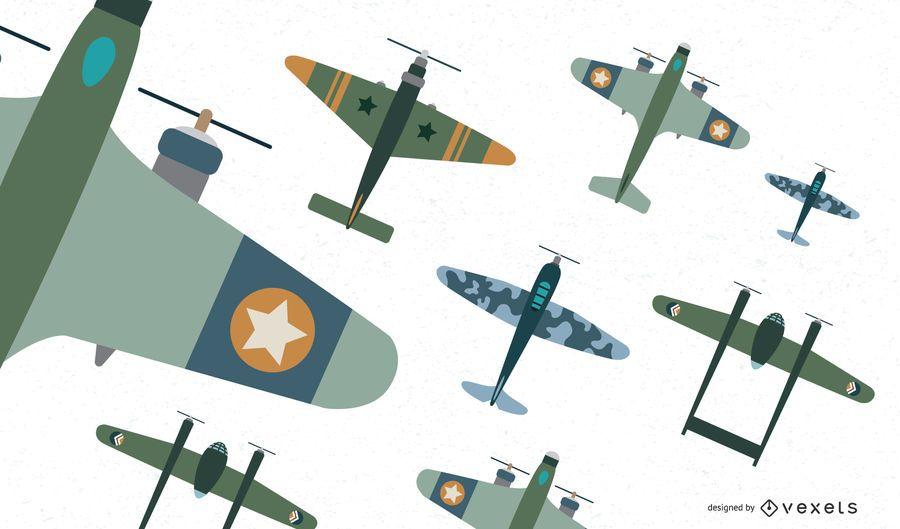 Colección de vectores planos de aviones de combate clásicos