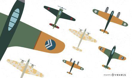 Coleção de vetores de caça de aeronaves da Primeira Guerra Mundial