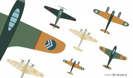 Weltkrieg-Flugzeug-Kämpfer-Vektor-Sammlung