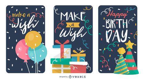 Conjunto de cartões de confete feliz bday