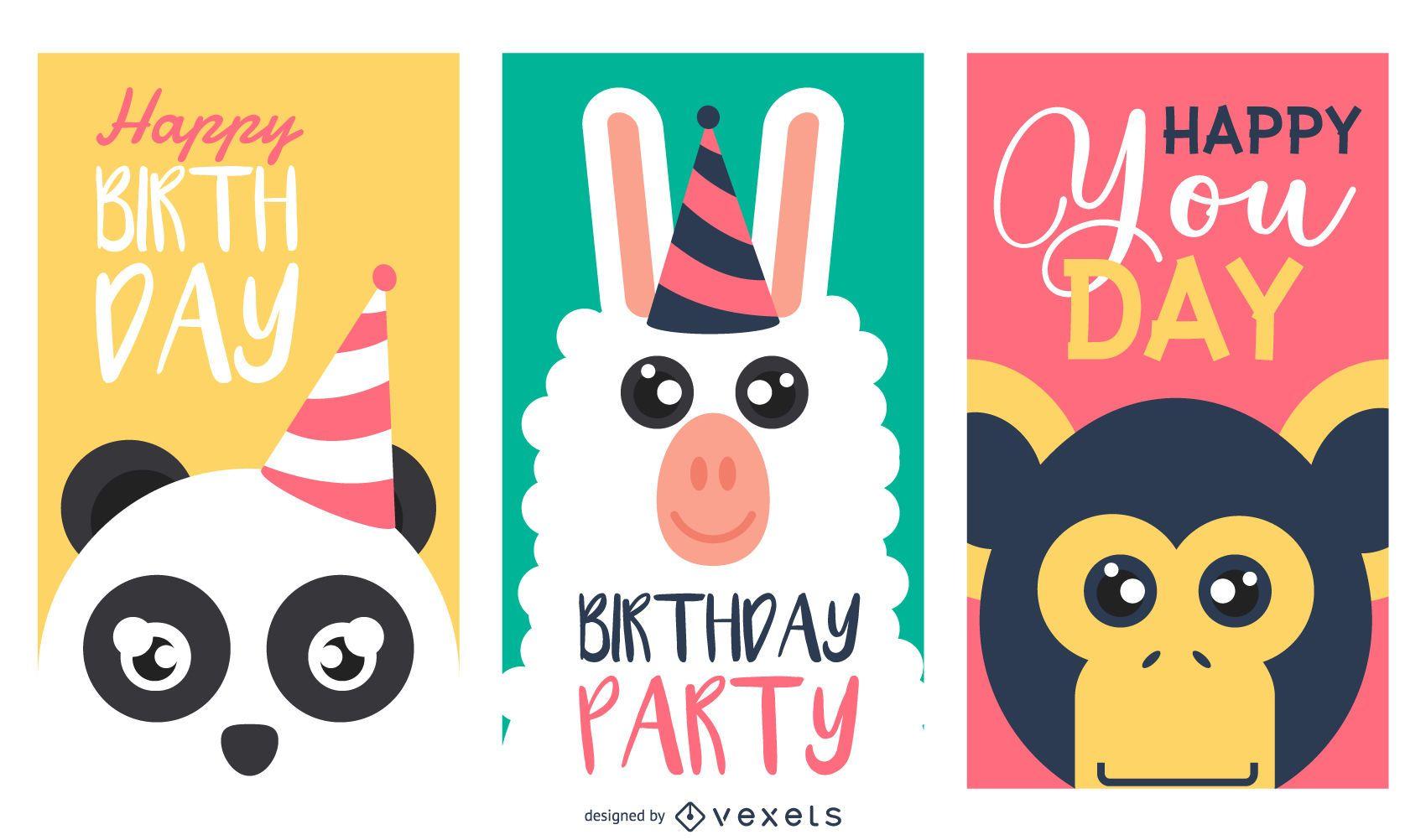 Happy birthday animals cards set