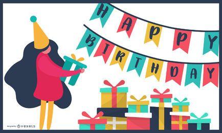 Design de cartão colorido de aniversário