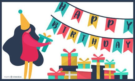 Diseño de tarjeta colorida de cumpleaños