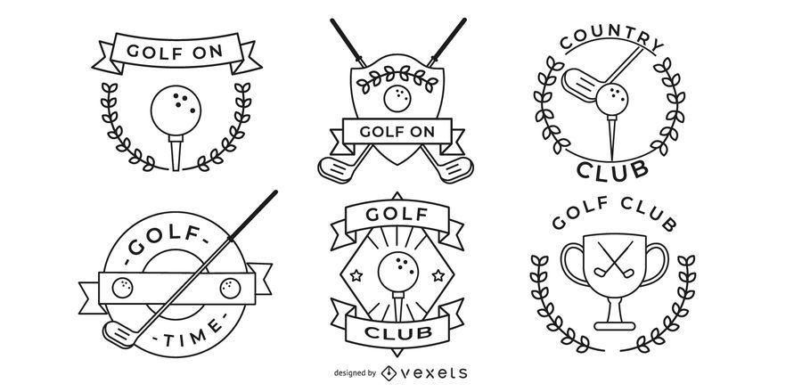 diseños de insignias de golf minimalistas