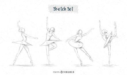 Desenhos de esboço de bailarina
