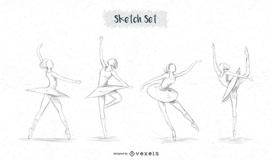 Diseños de croquis de bailarina.
