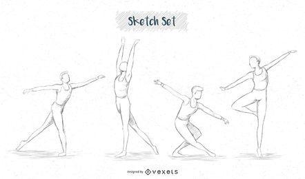 Balletttänzer Skizzensatz
