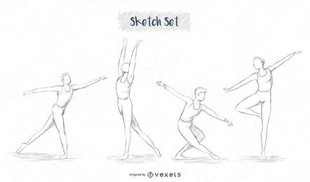conjunto de desenho de dançarina de balé