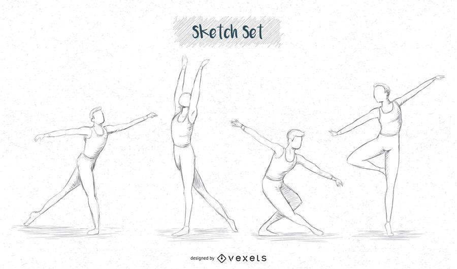 conjunto de croquis de bailarina de ballet