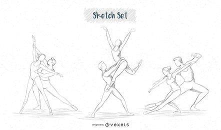 Conjunto de bocetos de pareja de ballet