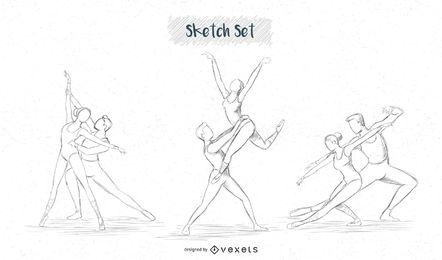 Conjunto de desenho de casal de balé