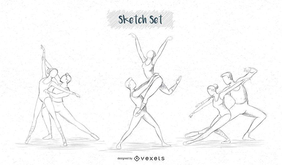 Ballett paar Skizzensatz