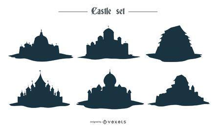 Desenhos vetoriais de silhueta de castelo