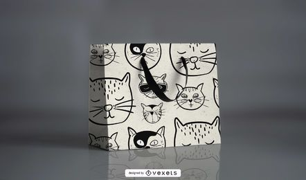 Cartoonish Cat Pattern Design